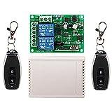 YuLinStyle 220 V KR2202-4 + KT05 2-Wege-Funkfernbedienungsschalter Controller mit 433 MHz Zwei-Wege-2-Tasten-1527-Lernfernbedienung, Verbundmaterial Elektronikmodul -
