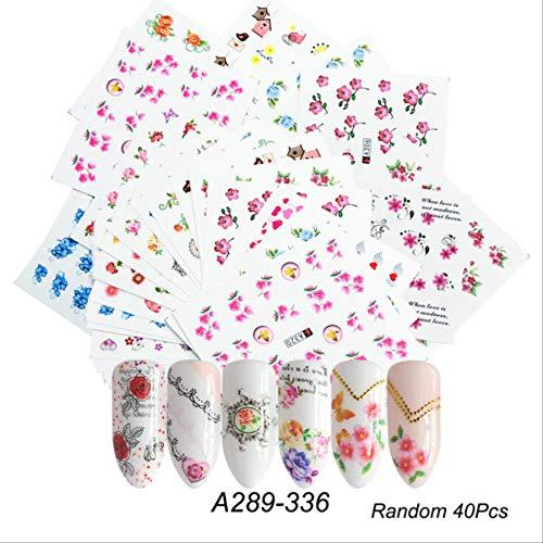Wfq adesivo per unghie 1 set misto design nuovo nail art sticker set pizzo nero oro argento fiore glitter water decal slider avvolge decor manicurea289-33640pcs