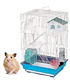 Heritage Tall White Hamster Cage (Blue Base) Gerbil Mice Mouse Cages Small Rodent Animal Play House Enclosure Home