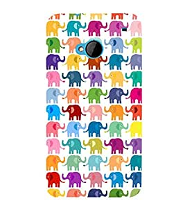 MULTICOLOURED ELEPHANT PATTERNS FOR KIDS IN A WHITE BACKGROUND 3D Hard Polycarbonate Designer Back Case Cover for HTC One M7 :: HTC M7