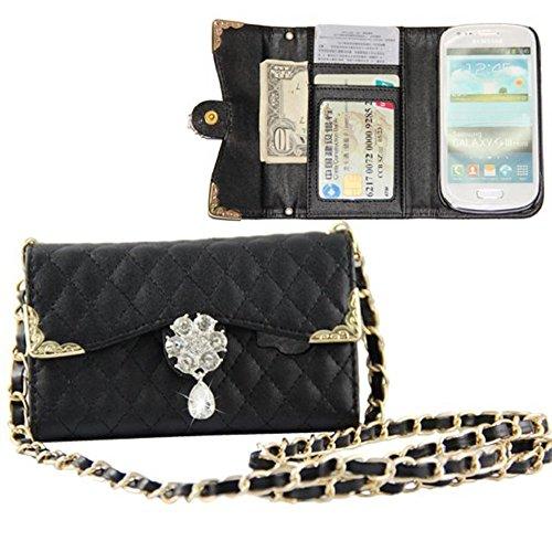 PowerQ Rhinestone Handbag Series { for IPhone 6 6S IPhone6S IPhone6 } Bling Shiny Glitter Teardrop shaped Diamond Crystal Flower Bloom Chain Belt Wallet Purse Bag Handbags Cell Phone Hülle Case Cover