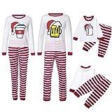 Weihnachten Schlafanzug Familien Outfit Mutter Vater Kind Baby Pajama Langarm Nachtwäsche Sleepwear Casual Xmas Weihnachtsmütze Print Rundkrage T-Shirt Oberteile Top Lang Gestreift Hose Set