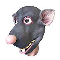 Rubber Johnnies   Funny Rat Mask , One Size , Hand Painted Grey , Adult , Cartoon