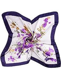 iShine Foulard Carré Féminin Motifs Floral Imprimé Turban Grand Taille  Echarpe Printemps Automne Soie Satin Lisse eb241bdcba7