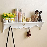 KingSaid White Floating Wall Shelf Bookshelf Display Storage Shelves Home Decor With Coat Hook