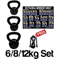 FXR 6, 8, 12KG KETTLEBELLS STRENGTH TRAINING HOME GYM FITNESS KETTLEBELL SET