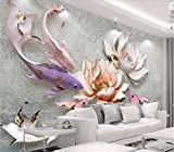 Fototapete 3D Effekt Vlies Tapete Chinesische Prägung Lotus Fisch In Der Wiederherstellung Des Altertums Und Frische. Tapeten Wandbilder Wohnzimmer