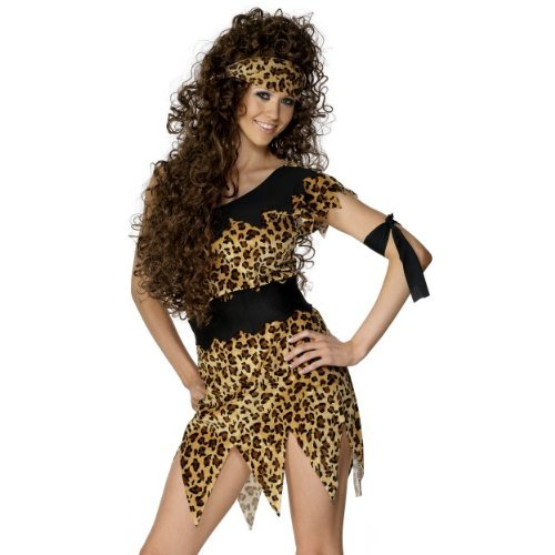 Smiffys Cavewoman Costume, Black and Brown Woman Fancy Dress