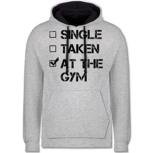 CrossFit & Workout - Single? Taken? At the gym! - Kontrast Hoodie Grau meliert/Dunkelblau