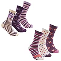 Cottonique Ladies Cotton Rich Animal Design Socks 4-8 6 Pack Purple Muli