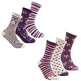 Cottonique, calzini da donna in cotone, con stampe di animali 6 Pack Purple Muli 37-42