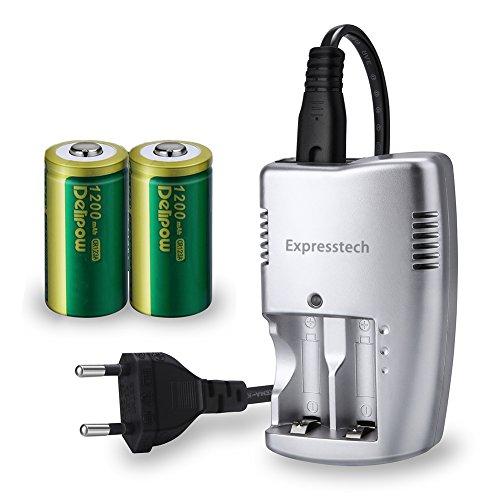 Expresstech @ 2PCs CR123A Akku Batterie Lithium 3V 1200mAh Photo Lithium Fotobatterie wiederaufladbare Batterie + Akku Ladegerät für Taschenlampe, Kamera Camcorder Spielzeug Fernbedienung Taschenla