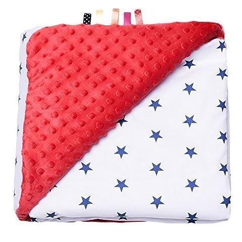 Couverture Minky ultra douce - 100% Coton certifié - Étoiles - Rouge