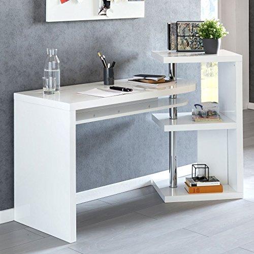 FineBuy Design Schreibtisch Maurice 145x50x94 cm Bürotisch mit Regal Weiß Hochglanz   Winkelschreibtisch Schwenkbar Massiv   Computertisch mit Ablage   Chefschreibtisch mit Ordnerregal Modern