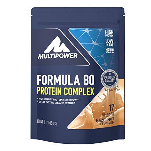 Multipower Formula 80 Protein Complex – Mehrkomponenten Protein Pulver für den Muskelaufbau – Proteinpulver mit Casein für eine langfristige Versorgung – mit cremigem Haselnuss-Geschmack – 510 g