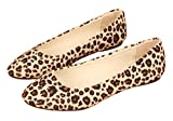 DADAWEN Damen Ballerinas Mädchen Loafers Schuhe Flache Leopard Slippers-Beige 38