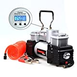 #7: Supermall New Imported 2018 Double Cylinders 12V DC Heavy Duty Metallic Tyre Inflator Air Compressor Pump with digital Display Gauge & light High Quality