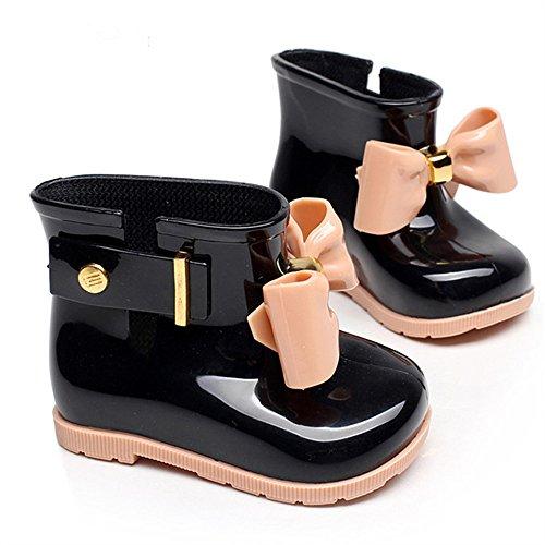 Chicos Chicas Botas de Lluvia Botas de Agua para Niñas Moda Botines De Lluvia Festival Botas De Agua Muy Ligera Impermeable Anti-deslizante Arco Zapatos Rain Boot (EUR 22/23, El negro)