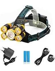 Lampe Frontale Puissante avec 5 LED de 8000 lumens, SGODDE Lampe Torche LED Zoomable et Étanche avec 2 x 18650 8800mAh Batterie Rechargeable de Protection contre Surcharge.