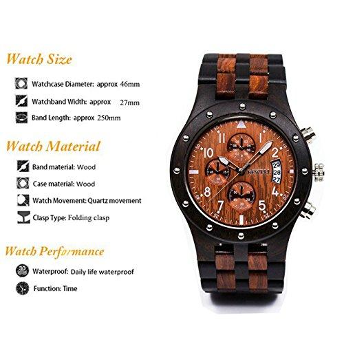 BEWELL W109D Herrenuhr Analoganzeige Japanisches Quarzwerk mit Sandelholz Uhrenarmband Kalender und Stoppuhrfunktion (Schwarzes und Rotes Sandelholz) - 5