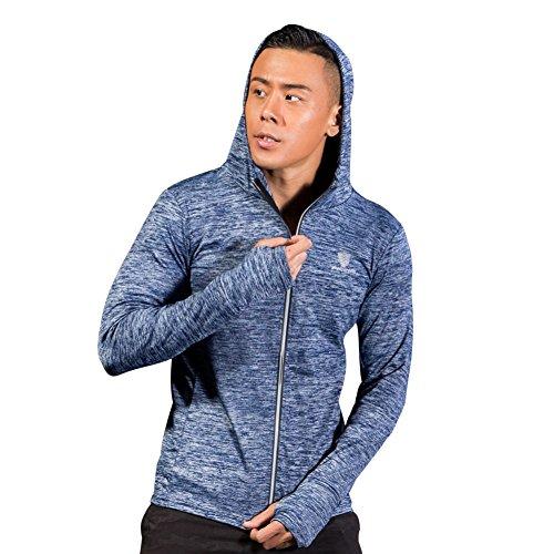 Herren Hoodies Sport T-Shirt Hankyky Cooles Trockenes Workout Lauftraining Langarm Athletisches Sweatshirt mit Reißverschluss (Hoodie, Reißverschluss über Gesicht)