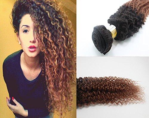 Romantic Angels 100% afro crépus extensions de cheveux bouclés, Remy cheveux humains tissage grade 5A, 30cm, Couleur#1b/30