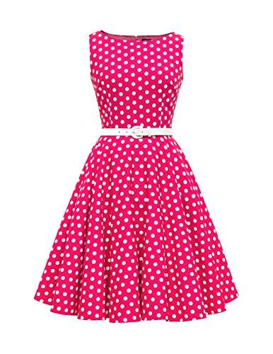 ey' Vintage Polka-Dots Kleid im 50er-Jahre-Stil (Rosa, EUR 38 - S) ()