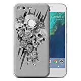 "STUFF4 Gel TPU Phone Case / Cover for Google Pixel XL (5.5"") / Three Design / Skull Art Sketch Collection"