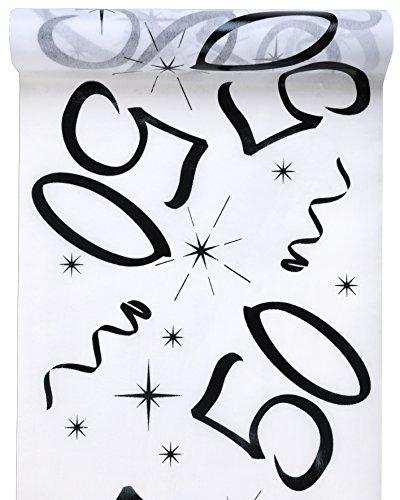 Tischläufer Vlies Zahl 50 Geburtstag 5m Tischvlies Tischdekoration Deko mit Palandi® Sticker (50. Geburtstag Tischdekoration)