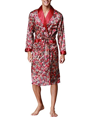 Herren Lange Klassische Schlafanzüge Charmeuse Morgenmantel Homewear Kimono Satin Bademäntel Robe Weinrot X-Large (Charmeuse Satin-robe)