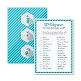 Babyparty Baby Shower Spiel-Set 8 Stück VIP-Babynamen junge blau Partyspiel Quiz Spiel Deko Party Karte Geschenk Spielkarte Artikel von Mia-Félice Decorations
