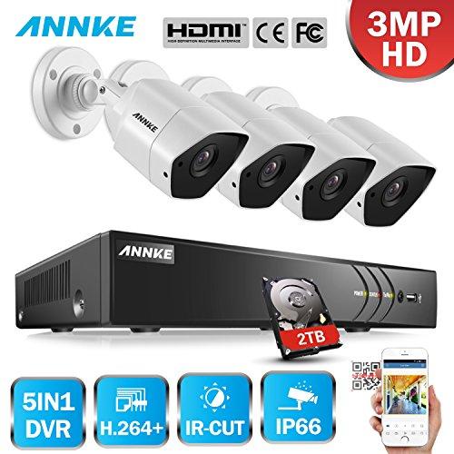 ANNKE-Kit-de-4-CCTV-Cmaras-Metal-de-Vigilancia-Seguridad-H264-8CH-TVI-DVR-y-4-Cmaras-30MP-Visin-Nocturna-IP66-Impermeable-Interior-y-Exterior-2TB-Disco-Duro