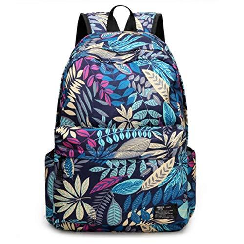 Mode Jungen Und Mädchen Schulrucksack Blätter Drucken Kinder Schultasche Reise Sport Umhängetasche Wasserdichter Rucksack (Color : Blue, Size : 30 x 15.5 x 44 cm)