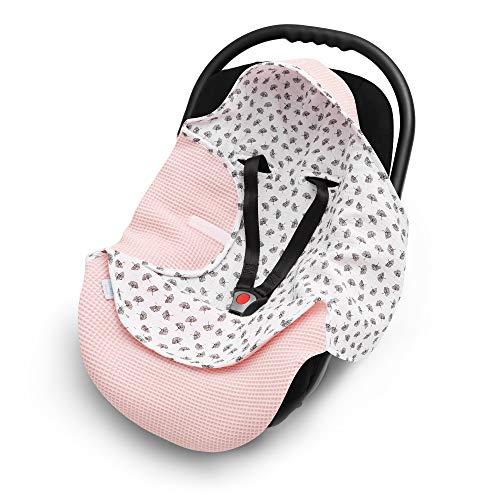 EliMeli Einschlagdecke für Babyschale 100% Baumwolle - Leichte Baby Decke für Autositz aus Waffelstoff und Musselin für den Sommer und Frühling, universal z.B. Maxi Cosi (Rosa - Blumen)