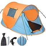 TecTake 800213 Tenda Pop-Up Campeggio, 2 Posti Automatica Instant, con Picchetti e Borsa - Disponibile in Diversi Colori (Blu-Arancione | No. 401674)