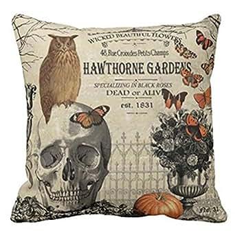 "Cuscino di Halloween, Longra Cassa del cuscino di Halloween della cotone di Halloween 18""x18"" felice (A)"