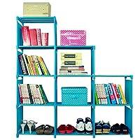 4-Tier DIY Storage Cube Closet Organizer Shelf, 9-cube Cabinet Bookcase Display Storage Shelf for Livingroom Kids Bedroom, 120 x 28 x 125cm (Blue)