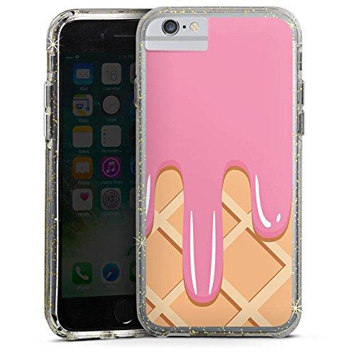 Apple iPhone 7 Bumper Hülle Bumper Case Glitzer Hülle Eis Waffel Eiscreme Bumper Case Glitzer gold