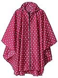 LINENLUX Regen Poncho Jacke Mantel für Erwachsene Ponchos Regen Kapuze Wasserdicht mit Reißverschluss im Freien (Rose Weiß-Tupfen)