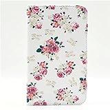 """Galaxy Tab 4 7"""" Funda, KATUMO® Funda Cuero Carcasa Protectora para Samsung Galaxy Tab 4 7"""" T230/231 Fundas Cartera Flip Case Cover-Flor"""