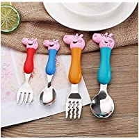 Nikansh Creations Pig Family Toyset for Pretend Play with Kids Safe Rubber top (Fork Set)
