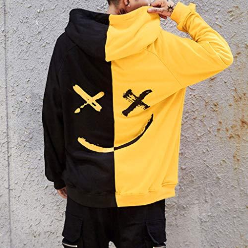 Imagen de overdose sudadera hombres patchwork slim fit hoodie otoño moda outwear nueva blusa adolescente top 2018 sudadera small, a amarillo  alternativa