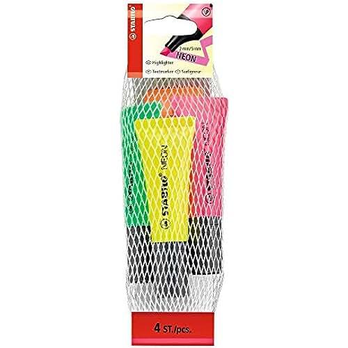 material escolar para la vuelta al cole Stabilo Neon - Pack de 4 marcador fluorescente (cuerpo semiblando), multicolor