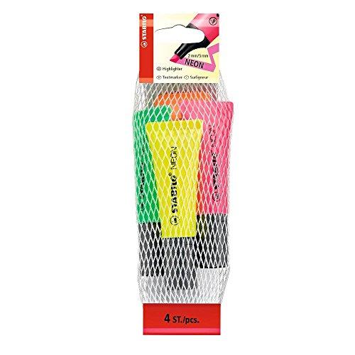 stabilo-set-evidenziatori-neon-4-evidenziatori-giallo-verde-arancione-rosa
