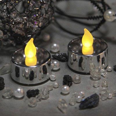 Velas LED pequeñas (2 unidades), color plateado