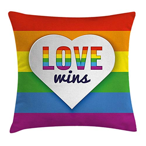 Pride Decorations Throw Pillow Cushion Cover, Rainbow Flag with Stripes Heart Symbol with Love Wins Text LGBT Valentine\'s, Decorative Square Accent Pillow Case, 18 X 18 inches, Multicolor