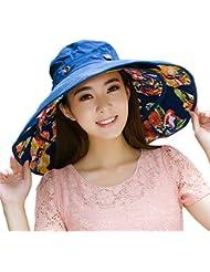 sombrero plegable con ala Extragrande, para el sol, reversible, UPF 50+, Deep Blue-Flower