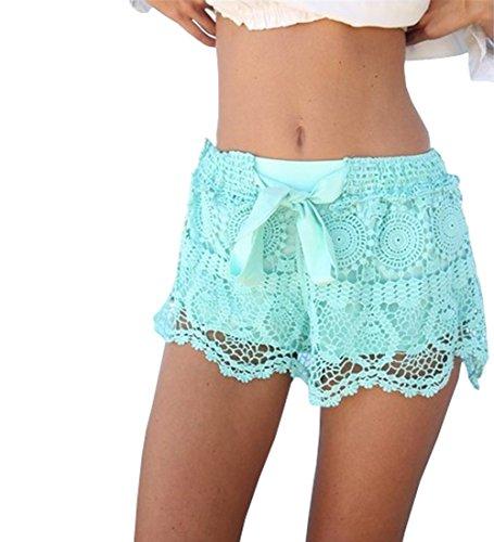 Minetom Femmes Sexy Eté dentelle Crochet en mousseline de soie Plage Shorts Casual Party Pantalons Vert