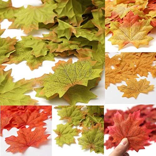 Hemore Künstliche Herbst-Ahornblätter, Seide, für Hochzeit, Garten, Dekoration in 7 Farben erhältlich, Grün mit Orange, 100 Stück