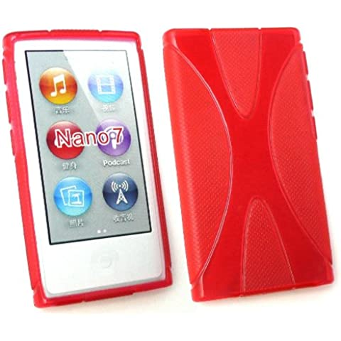 Emartbuy ® Apple Ipod Nano 7 (7 Gen) X-Pattern Gel Cover Red